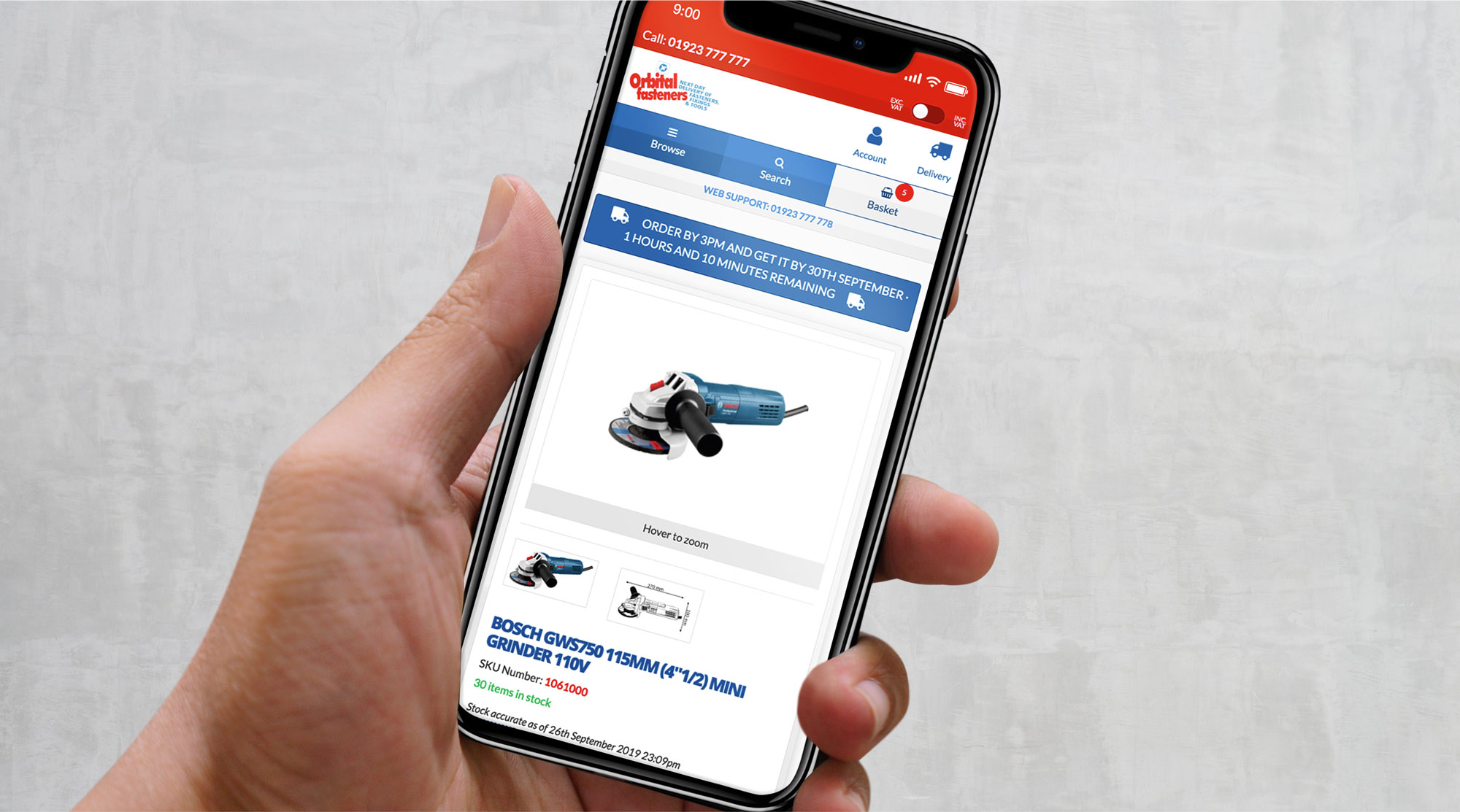 Orbital Fasteners website on a mobile